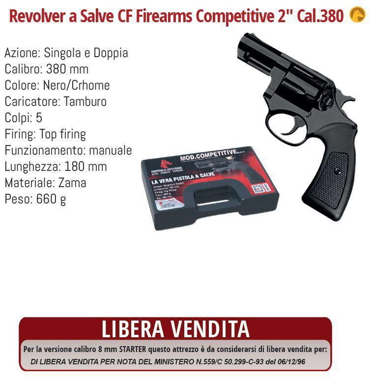 DIFESA PERSONALE PISTOLA A SALVE REVOLVER 380 BLACK 1pz DEFENCE SYSTEM