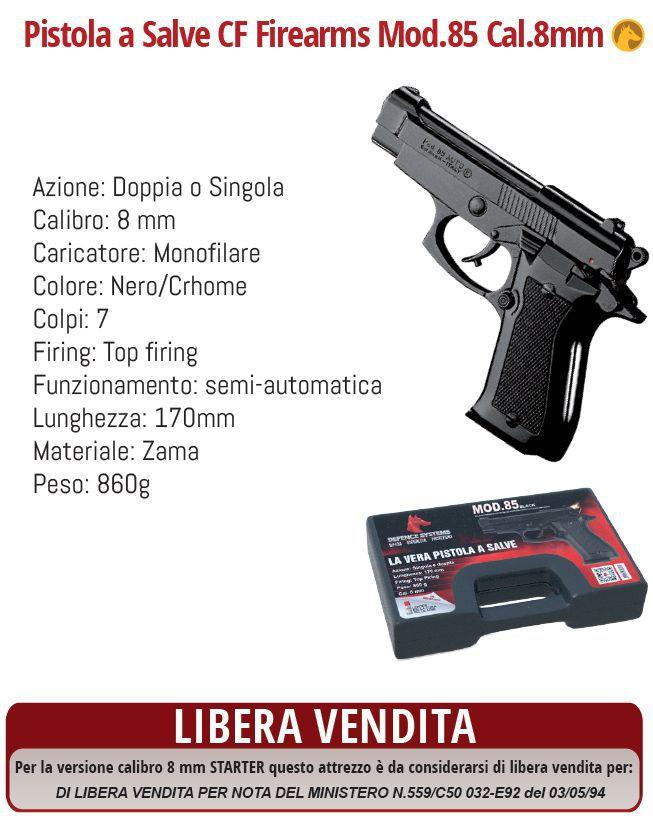 DIFESA PERSONALE PISTOLA A SALVE PISTOL 8mm BLACK 1pz DEFENCE SYSTEM