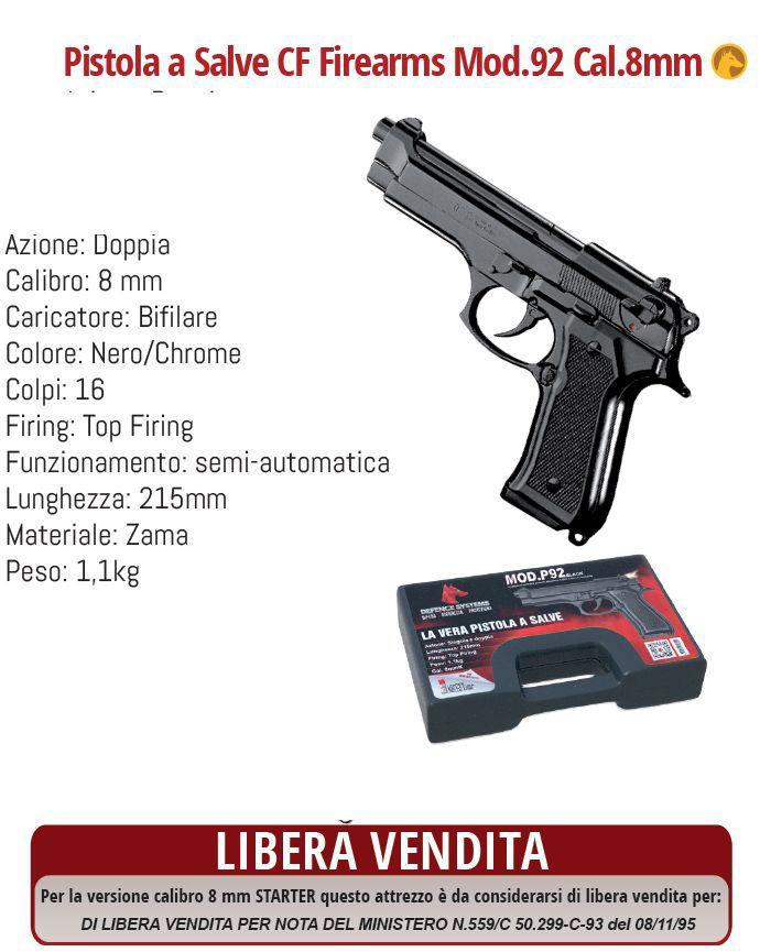 DIFESA PERSONALE PISTOLA A SALVE PISTOL P92 CHROME 1pz DEFENCE SYSTEM