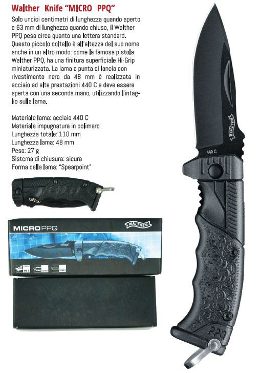 COLTELLI UMAREX WALTHER MICRO PPQ 1pz DEFENCE SYSTEM
