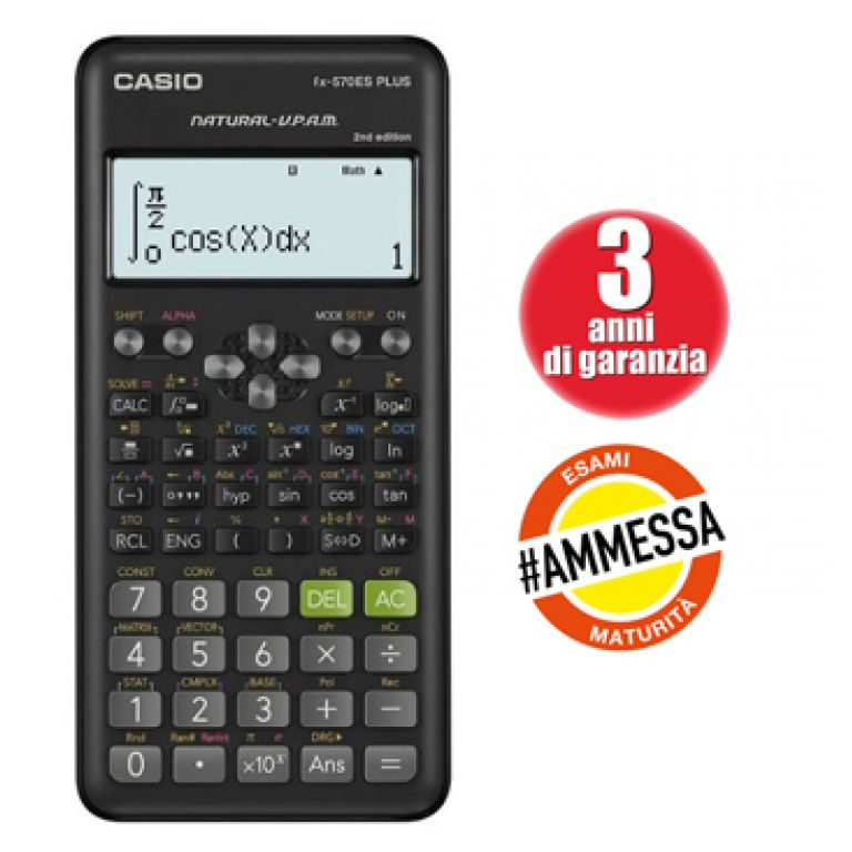 CALCOLATRICE CASIO DA TAVOLO FX570ES 161x80x12mm 403 FUNZIONI 1pz 12 CIFRE