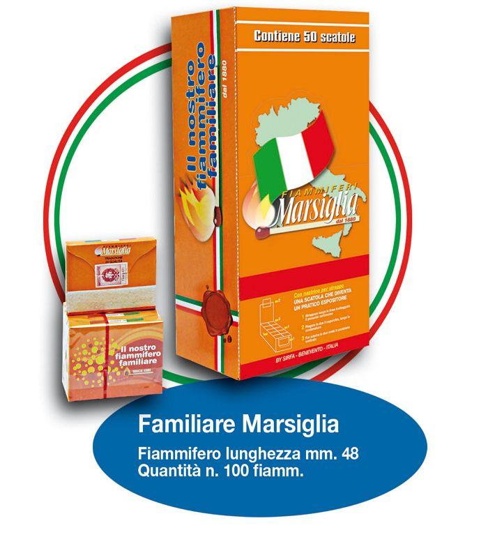 FIAMMIFERI FAMILIARI MARSIGLIA 100pz STECCA DA 5 x 100 Fiammiferi