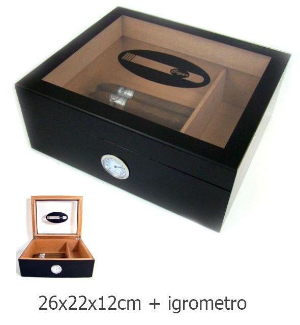 UMIDIFICATORE PER SIGARI 1pz - 26x22x12cm + igrometro