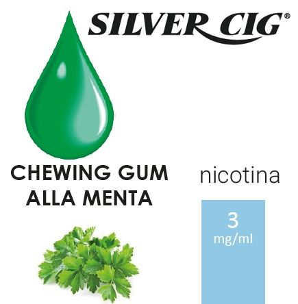 SILVER CIG E-LIQUID CHEWING GUM MENTA 10ml 3mg/ml - PLN006088