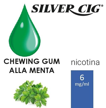 SILVER CIG E-LIQUID CHEWING GUM MENTA 10ml 6mg/ml - PLN006065