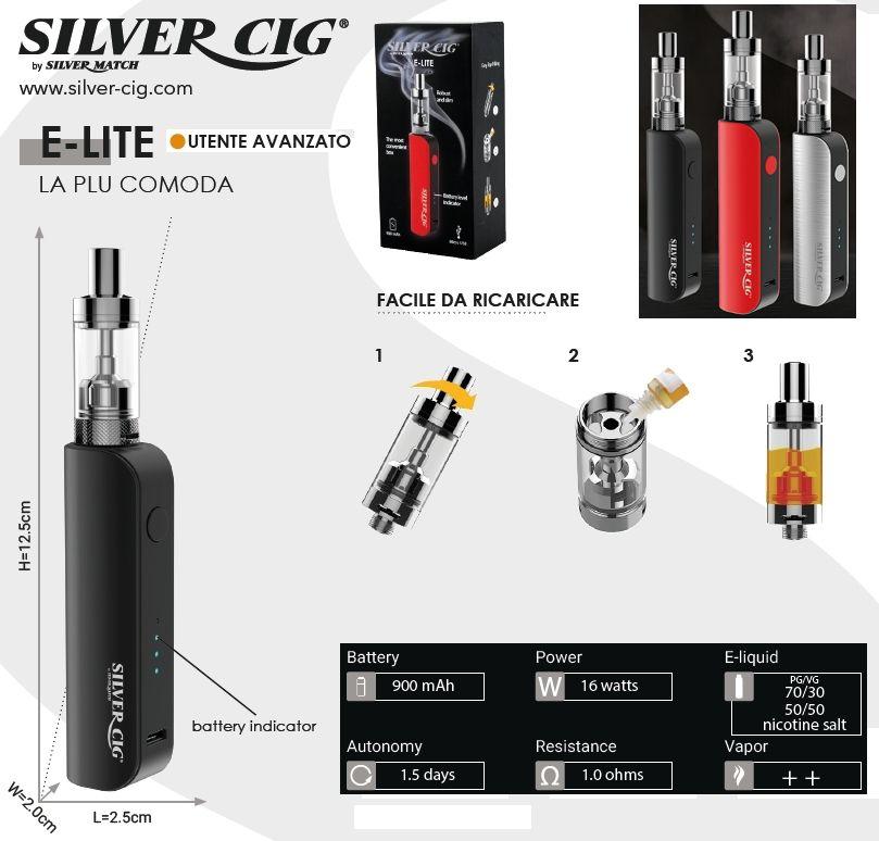 SIGARETTA ELETTRONICA E-LITE 900mAh BLACK 1pz SILVER CIG