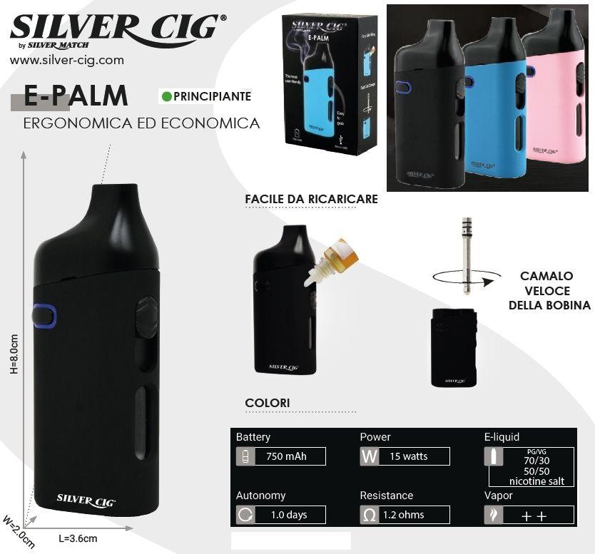 SIGARETTA ELETTRONICA E-PALM 750mAh BLACK 1pz SILVER CIG