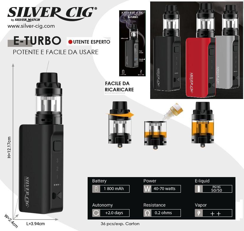 SIGARETTA ELETTRONICA E-TURBO 1800mAh BLACK 1pz SILVER CIG