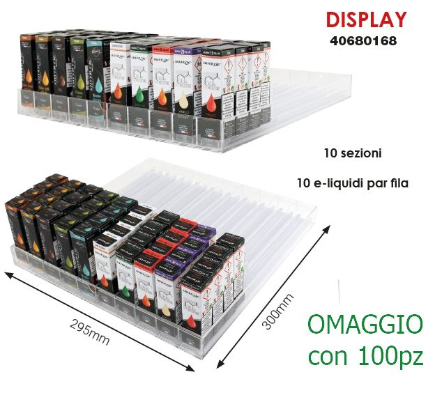 LIQUIDI ESPOSITORE per 100/120pz VUOTO PUSHER TRAY DISPLAY DA BANCO  (OMAGGIO/100)