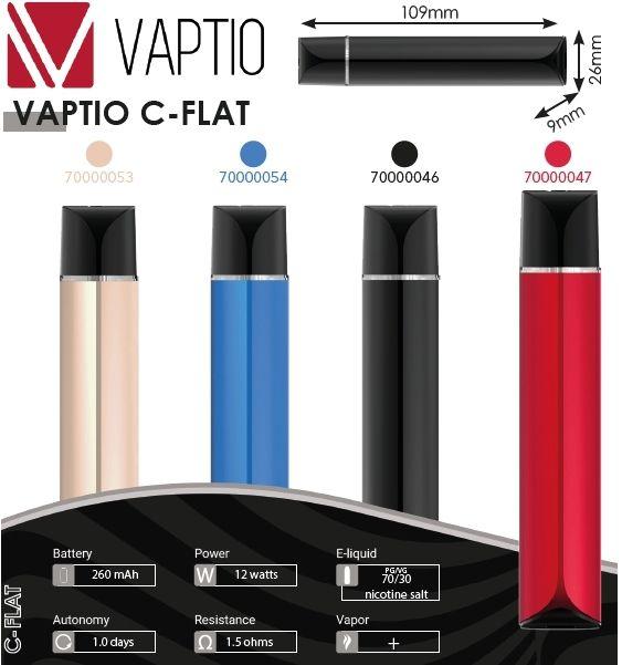 SIGARETTA ELETTRONICA C-FLAT VAPTIO 260mAh BLACK 1pz