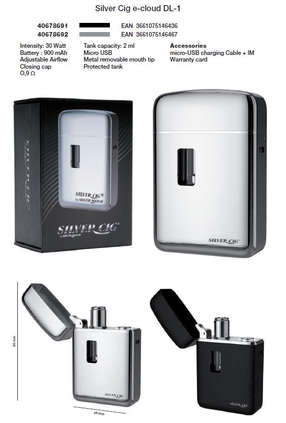SIGARETTA ELETTRONICA SILVER CIG ECLOUD 900mAh NERA 1pz + CARICATORE USB