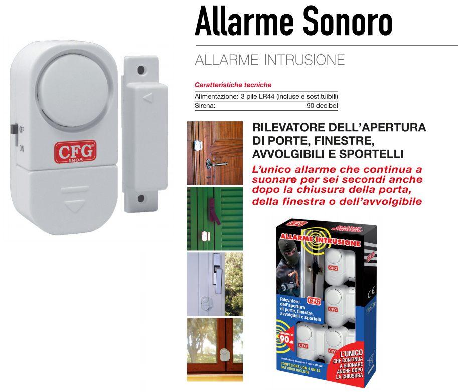 ALLARME INTRUSIONE SONORO 4pz BLISTER + 3 LR44 BATTERIE