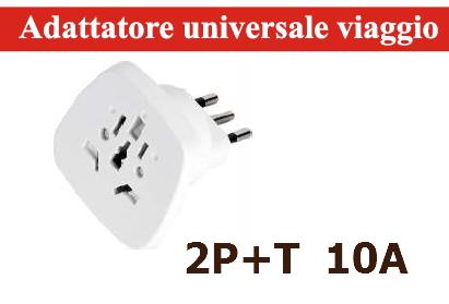 PRESA ADATTATORE DA VIAGGIO UNIVERSALE 10A 2P+T