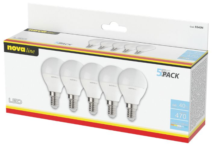LAMPADINE LED E14 14W SFERA LUCE NATURALE 1x5pz 4000K/1521im A+ - NEOS NOVALINE