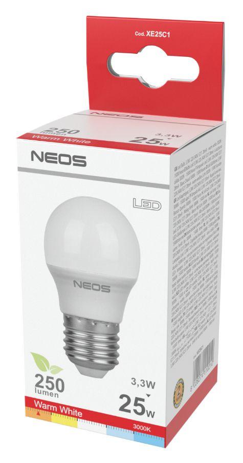 LAMPADINE LED E27 3,3W SFERA LUCE CALDA 1pz 3000K/250im A+ - NEOS NOVALINE