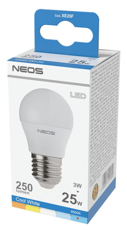 LAMPADINE LED E27 3W SFERA LUCE FREDDA 1pz 6500K/250im A+ - NEOS NOVALINE