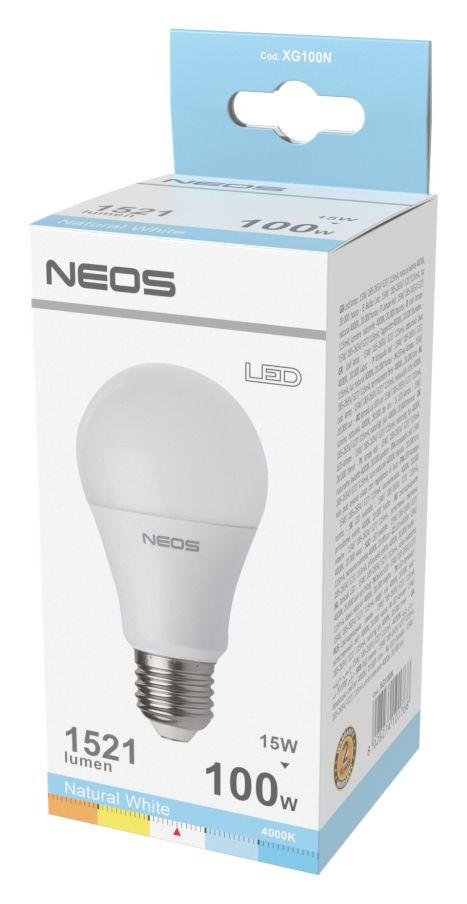 LAMPADINE LED E27 15W GOCCIA LUCE NATURALE 1pz 4000K/1521im A+ - NEOS NOVALINE