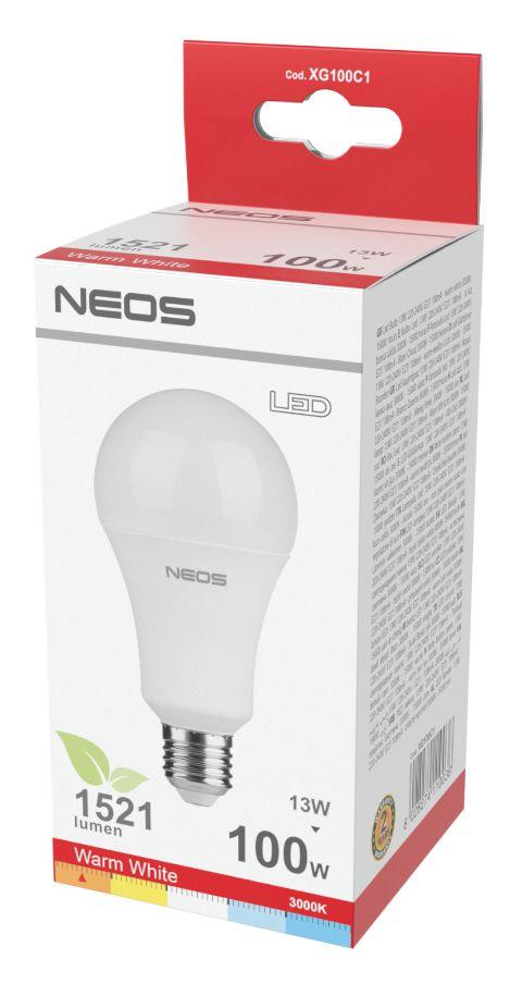 LAMPADINE LED E27 13W GOCCIA LUCE CALDA 1pz 3000K/1521im A+ - NEOS NOVALINE