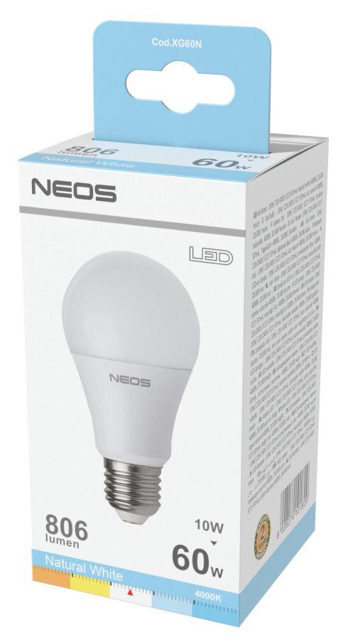 LAMPADINE LED E27 10W GOCCIA LUCE NATURALE 1pz 4000K/806im A+ - NEOS NOVALINE