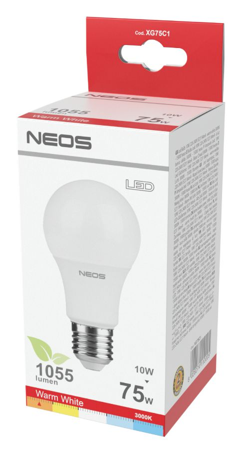 LAMPADINE LED E27 10W GOCCIA LUCE CALDA 1pz 3000K/1055im A+ - NEOS NOVALINE