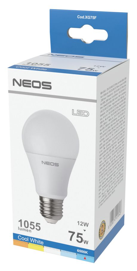 LAMPADINE LED E27 12W GOCCIA LUCE FREDDA 1pz 6500K/1055im A+ - NEOS NOVALINE