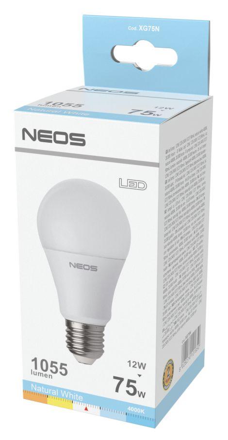 LAMPADINE LED E27 12W GOCCIA LUCE NATURALE 1pz 4000K/1055im A+ - NEOS NOVALINE