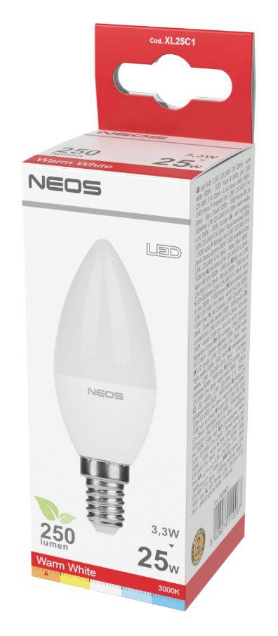 LAMPADINE LED E14 3,3W OLIVA LUCE CALDA 1pz 3000K/250im A+ - NEOS NOVALINE