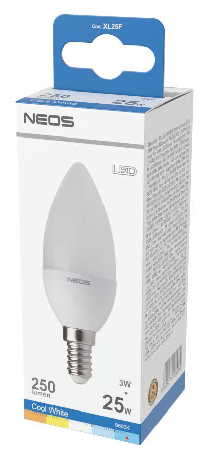 LAMPADINE LED E14 3W OLIVA LUCE FREDDA 1pz 6500K/250im A+ - NEOS NOVALINE