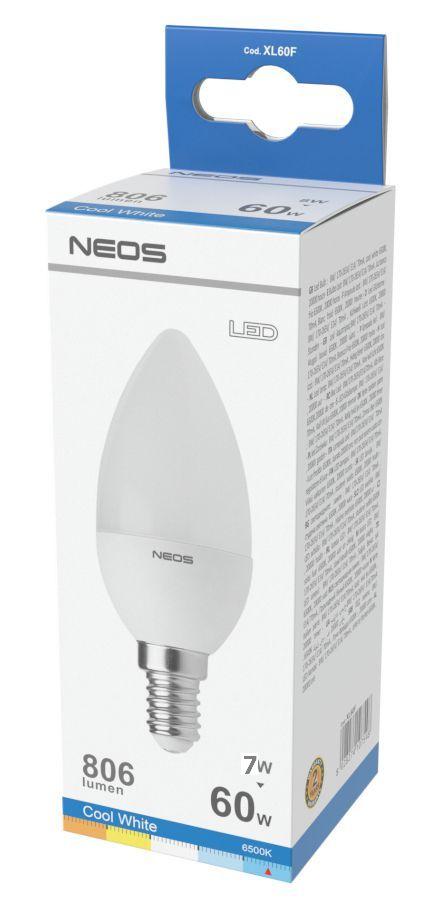LAMPADINE LED E14 7W OLIVA LUCE FREDDA 1pz 6500K/806im A+ - NEOS NOVALINE