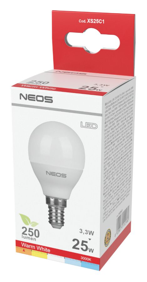 LAMPADINE LED E14 3,3W SFERA LUCE CALDA 1pz 3000K/250im A+ - NEOS NOVALINE