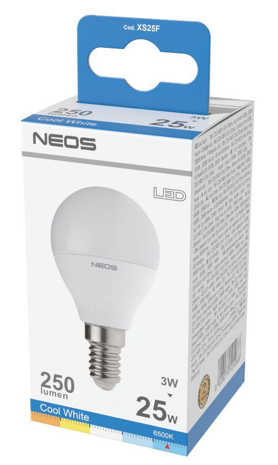 LAMPADINE LED E14 3W SFERA LUCE FREDDA 1pz 6500K/250im A+ - NEOS NOVALINE