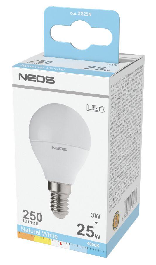 LAMPADINE LED E14 3W SFERA LUCE NATURALE 1pz 4000K/250im A+ - NEOS NOVALINE