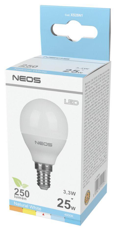LAMPADINE LED E14 3,3W SFERA LUCE NATURALE 1pz 4000K/250im A+ - NEOS NOVALINE