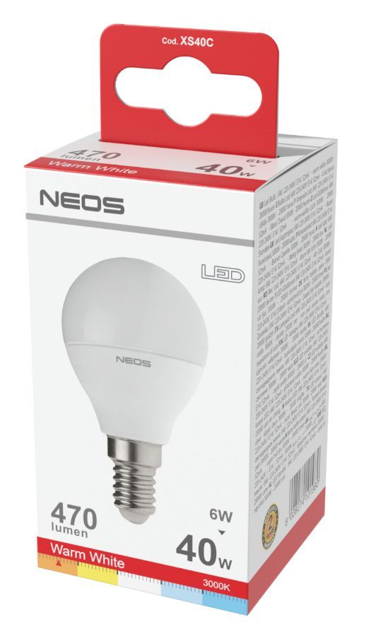 LAMPADINE LED E14 6W SFERA LUCE CALDA 1pz 3000K/470im A+ - NEOS NOVALINE