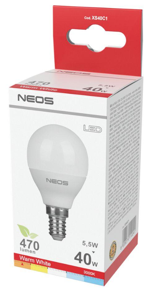 LAMPADINE LED E14 5,5W SFERA LUCE CALDA 1pz 3000K/470im A+ - NEOS NOVALINE