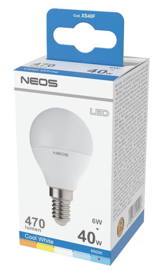LAMPADINE LED E14 6W SFERA LUCE FREDDA 1pz 6500K/470im A+ - NEOS NOVALINE
