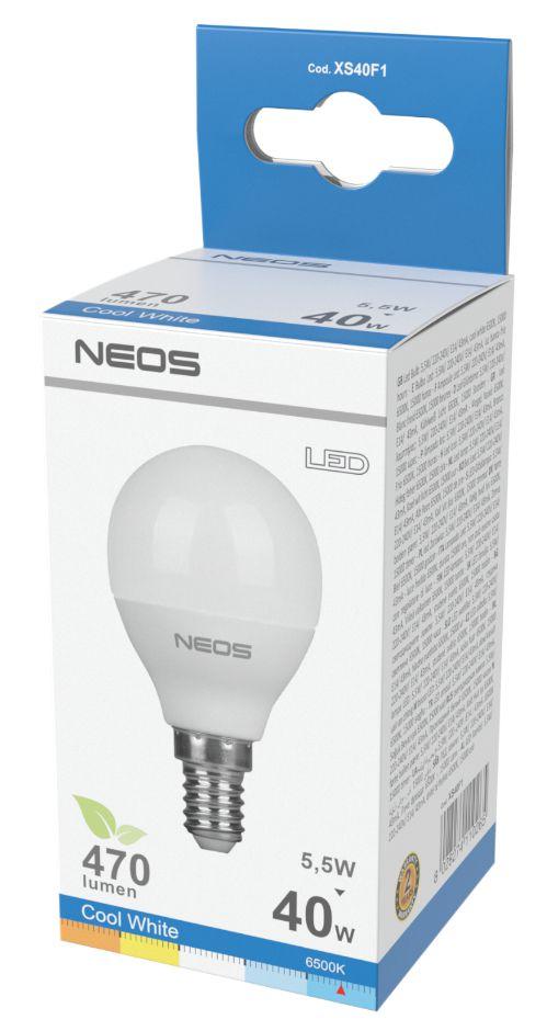 LAMPADINE LED E14 5,5W SFERA LUCE FREDDA 1pz 6500K/470im A+ - NEOS NOVALINE