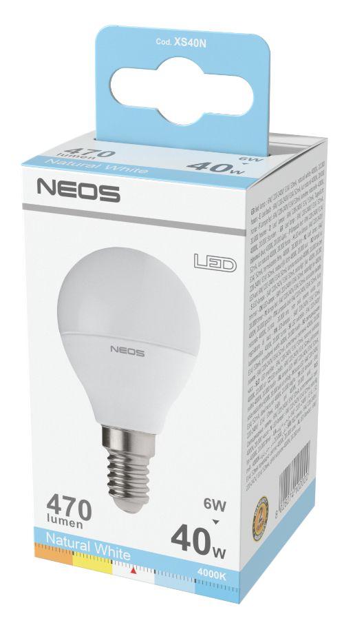 LAMPADINE LED E14 6W SFERA LUCE NATURALE 1pz 4000K/470im A+ - NEOS NOVALINE