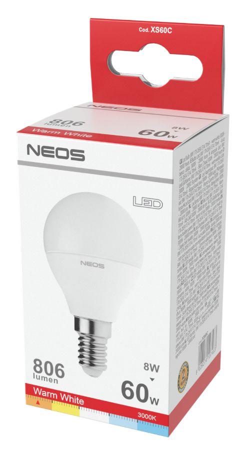 LAMPADINE LED E14 8W SFERA LUCE CALDA 1pz 3000K/806im A+ - NEOS NOVALINE