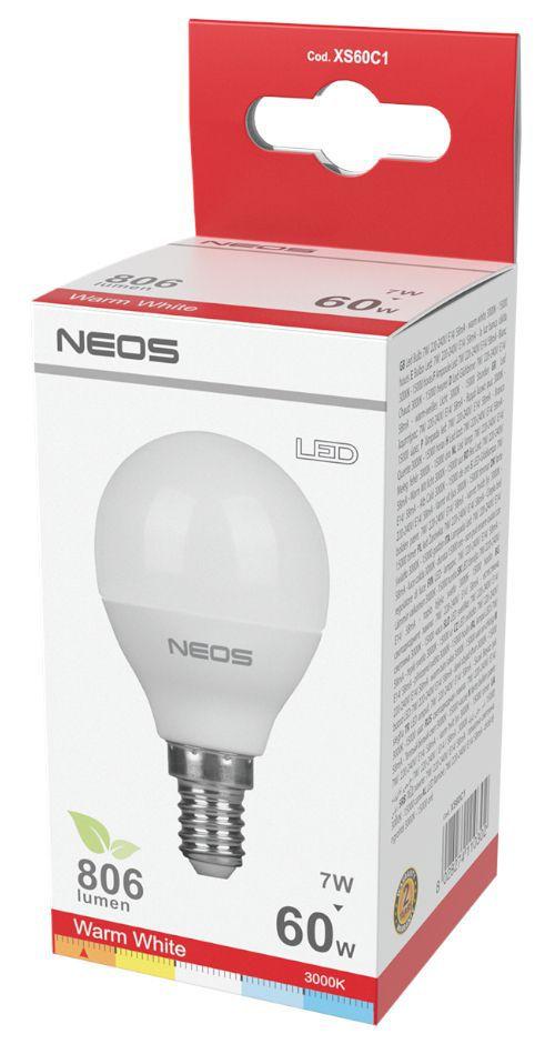 LAMPADINE LED E14 7W SFERA LUCE CALDA 1pz 3000K/806im A+ - NEOS NOVALINE