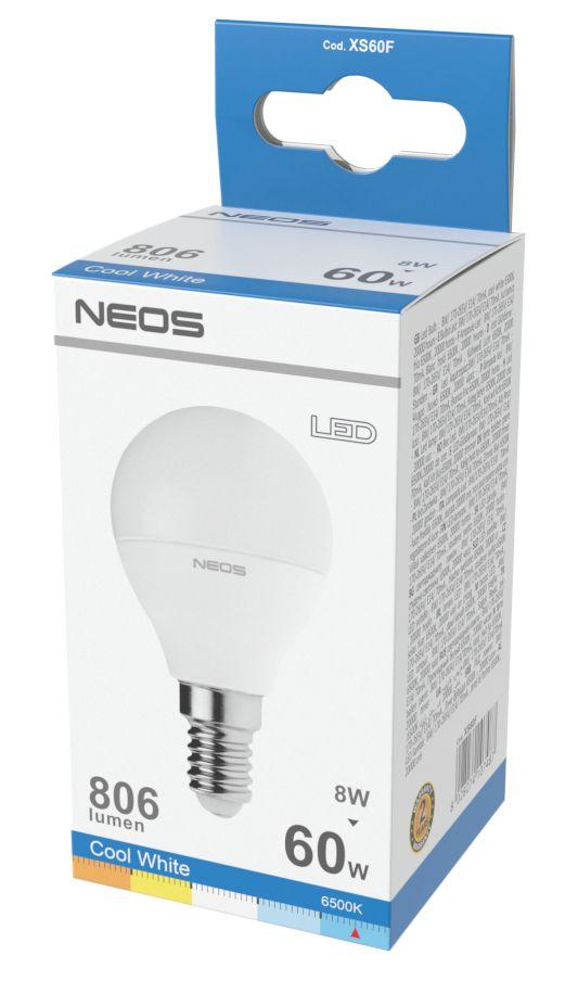 LAMPADINE LED E14 8W SFERA LUCE FREDDA 1pz 6500K/806im A+ - NEOS NOVALINE