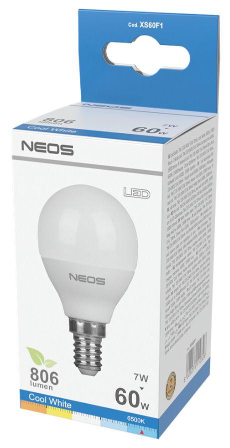LAMPADINE LED E14 7W SFERA LUCE FREDDA 1pz 6500K/806im A+ - NEOS NOVALINE