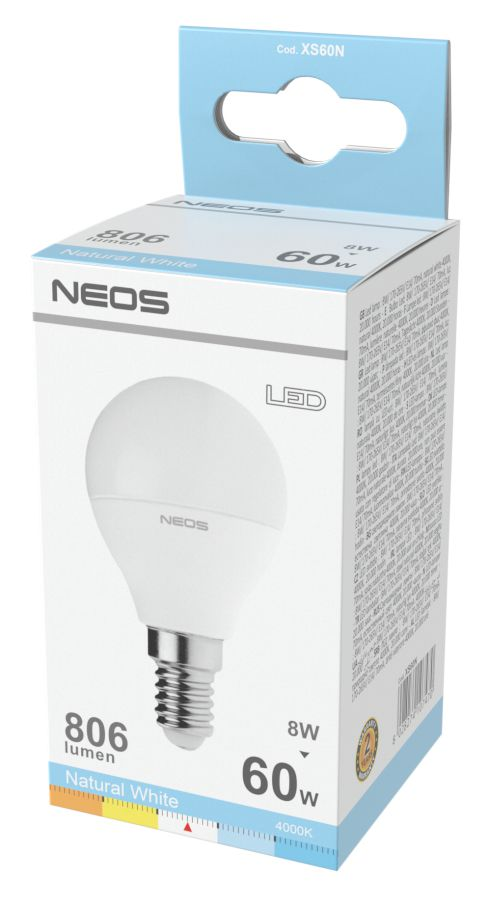 LAMPADINE LED E14 8W SFERA LUCE NATURALE 1pz 4000K/806im A+ - NEOS NOVALINE