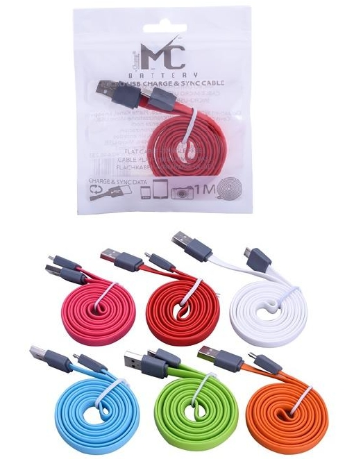 CAVETTO USB MICRO PER ANDROID 1mt - PIATTO SENZA NODI COLORI ASSORTITI - TEKMEE