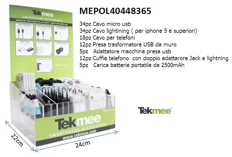 EXPO TEKMEE SMALL ACCESSORI CELLULARE SMARTPHONE 120pz ASSORTITI