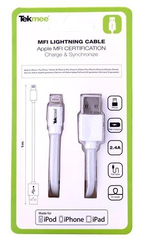 CAVETTO MFI USB 1mt- BIANCO - PER IPHONE IPAD IPOD - CERTIFICATO APPLE