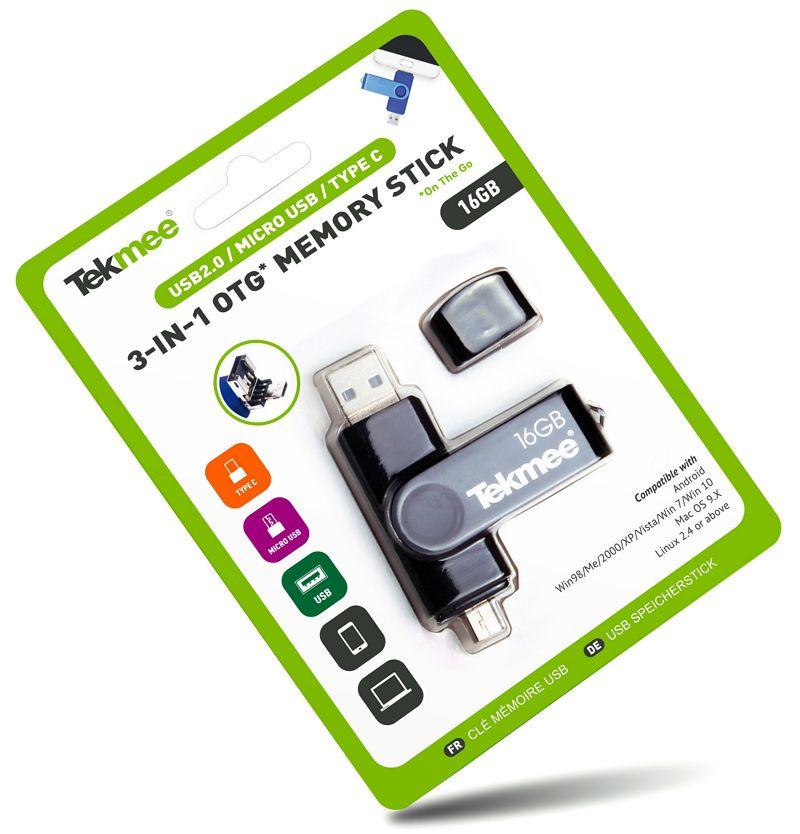 PENNA USB OTG 3in1 MEMORY STICK 16Gb 1pz  TEKMEE