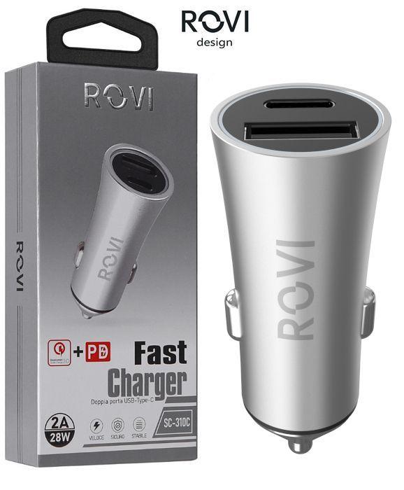 CARICABATTERIE DA AUTO USB + TYPE-C 1pz FAST CHERGER in metallo BLISTER - ROVI