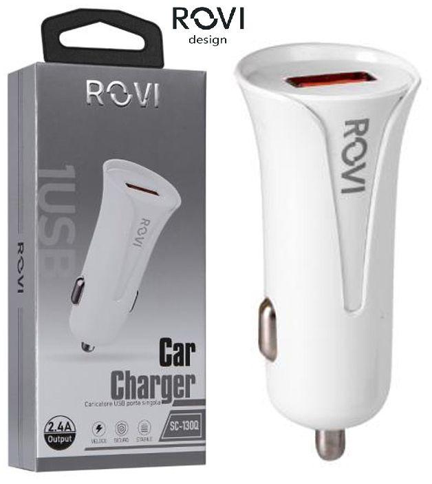CARICABATTERIE DA AUTO 1 USB QUALCOMM3.0 1pz BIANCO BLISTER - ROVI