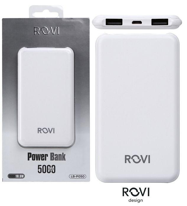 BATTERIE ESTERNA POWERBANK + 2USB - 5000mAh BIANCO - cellulari BLISTER - ROVI